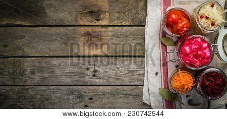 Selection Of Fermented Food - Carrot, Cabbage, Tomatoes, Beetroot, Copy Space Wood Background