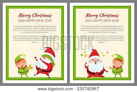 Santa And Elf Cartoon Playing In Hide-and-seek And Having Good Ideas Vector Posters With Place For T