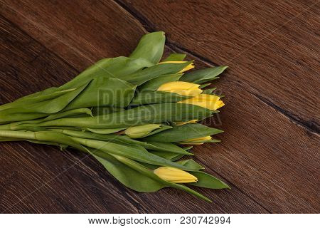 Spring Tulips Flower On A Wooden Table Close Up