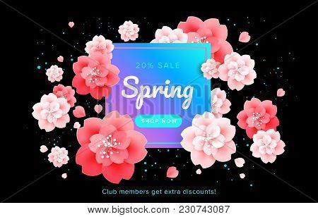Beautiful Spring Sale Banner With Flower Frame - Cherry Flowers Blossom On Black Background - Banner