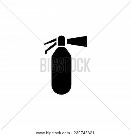 Fire Extinguisher. Flat Vector Icon. Simple Black Symbol On White Background