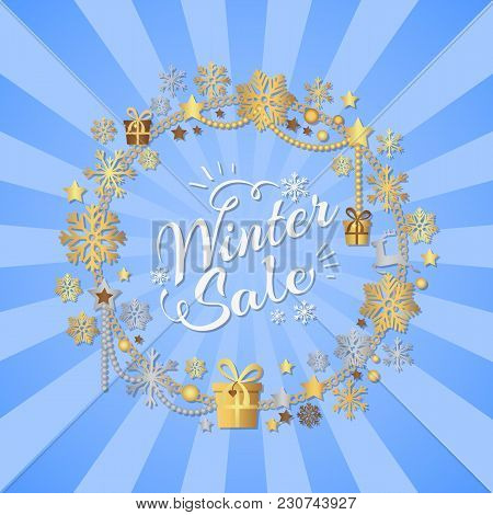 Winter Sale Poster In Decorative Frame Made Of Silver And Gold Snowflakes, Snowballs In Xmas Border,