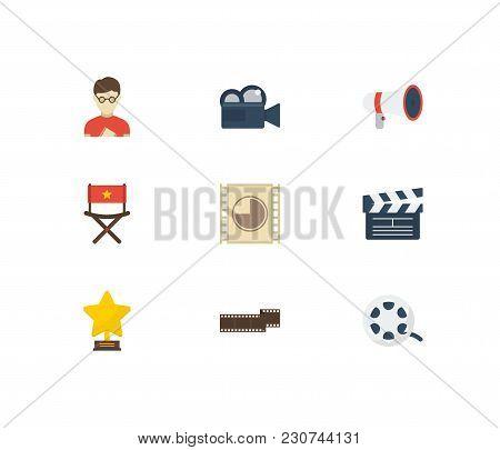 Video Icons Set With Movie Loudspeaker, Cinema Film Strip And Cinema Reel Elements. Set Of Video Ico