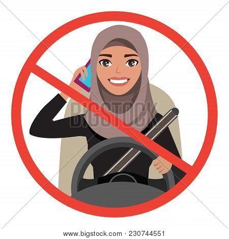 Arab Businesswoman Driving A Car Talking On The Phone. Arab Woman Wearing Hijab. Vector Cartoon Char