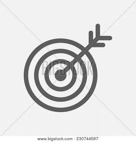 Core Values: Goals Icon Line Symbol. Isolated Vector Illustration On Company Values Dartboard Sign C