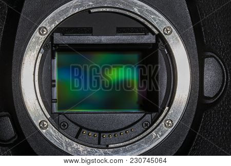 Close-up Of The Sensor Plate Of A Camera With Full-frame Sensor Horizontal