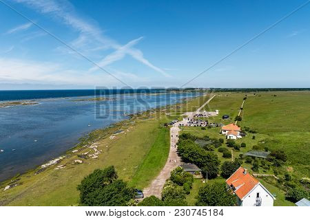 Beautiful Aerial View From The Top Of The Lighthouse Tall Jan At The South End Of Oland Located Outs