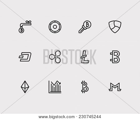 Blockchain Icons Set With Ethereum, Coin Faucet And Stock Price Elements. Set Of Blockchain Icons Al