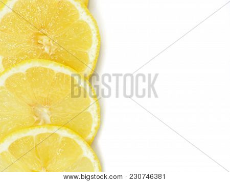Fresh Lemon Slice On White Background, With Copy Or Free Space For Text.