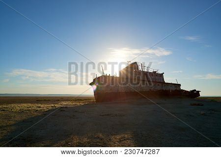 Abandoned Ships Aral Sea. The Aral Sea Is A Formerly Un Salt Lake In Central Asia. The Aral Sea Was