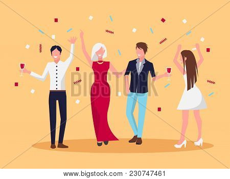 Celebrating People, Laughing And Standing With Galsses Of Alcohgolic Drinks In Their Hands And Confe