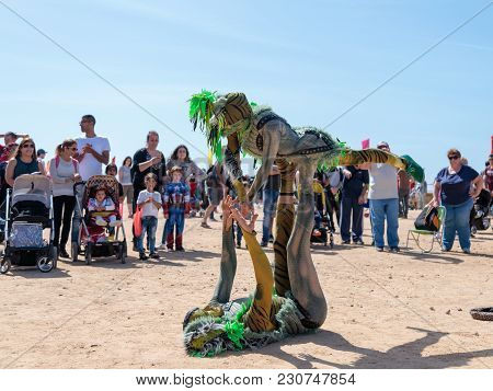 Caesarea, Israel, March 03, 2018 : A Participants Of The Purim Festival Dressed In Fabulous Costumes