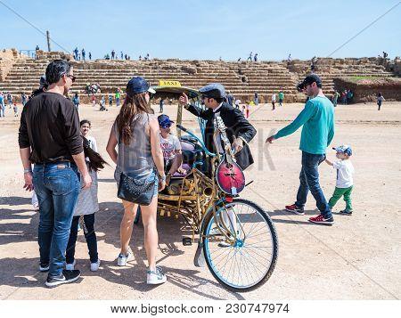 Caesarea, Israel, March 03, 2018 : A Participant Of The Purim Festival Shows Performance In Caesarea