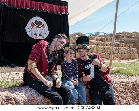 Caesarea, Israel, March 03, 2018 : A Participants Of The Purim Festival Show Performance In Caesarea