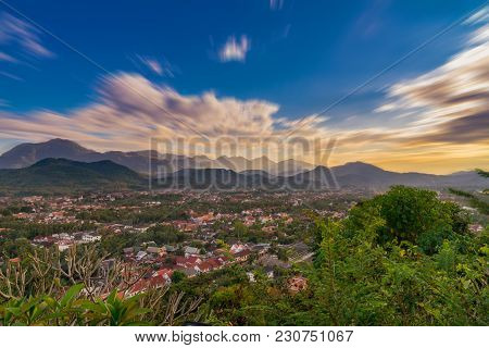 Long Exposure Landscape For Viewpoint At Sunset In Luang Prabang, Laos.