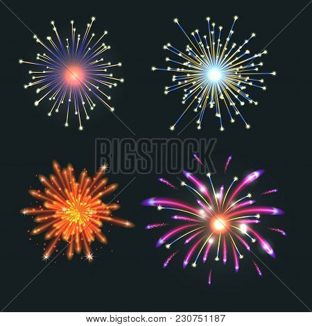 Firework Vector Icon Isolated Illustration Celebration Holiday Event Night New Year Fire Festival Ex