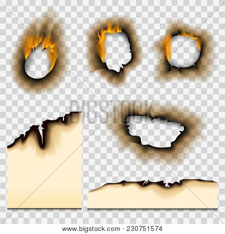 Collection Of Burnt Faded Holes Piece Burned Paper Fire Realistic Flame Isolated Vector Illustration