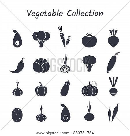 Black Silhouette Isolated Vegetable Icon Set On White Backdrop. Vector Illustration With Symbol Of O