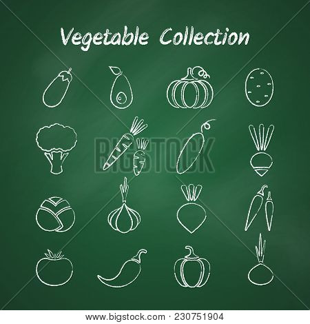 Grunge Outline Vegetable Icon Set Isolated On Green Chalkboard. Vector Illustration With Chalk Style
