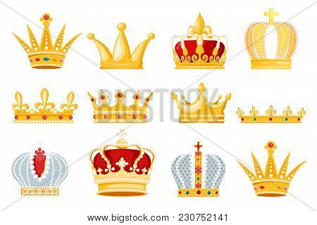 Crown Vector Golden Royal Jewelry Symbol Of King Queen And Princess Illustration Sign Of Crowning Pr