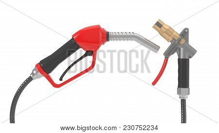 Red Fuel Nozzle And Gas Pump Nozzle. 3d Illustration Isolated On White