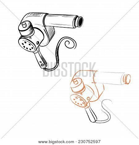 Retro Hair Dryer Drawn In The Thumbnail Style On A White Background