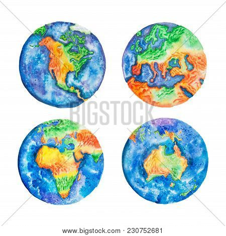 Globe. Watercolor Illustration Of Planet Earth Mainlands And Continents