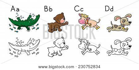 Coloring Book Or Coloring Picture Of Funny Alligator, Bear, Cow And Dog. Animals Zoo Alphabet Or Abc