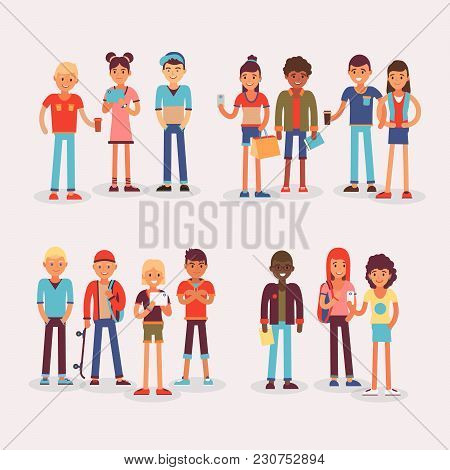 Youth Teens Group Vector Grouped Teenagers And Friends Characters Of Girls Or Boys Together Illustra