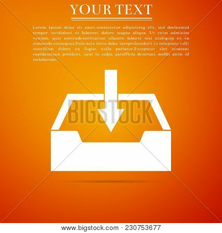 Download Inbox Icon Isolated On Orange Background. Flat Design. Vector Illustration
