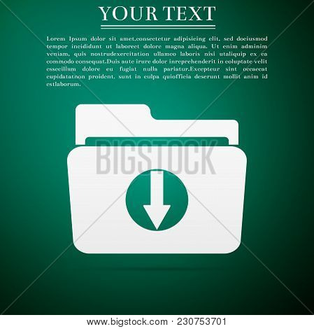 Download Arrow With Folder Icon Isolated On Green Background. Flat Design. Vector Illustration