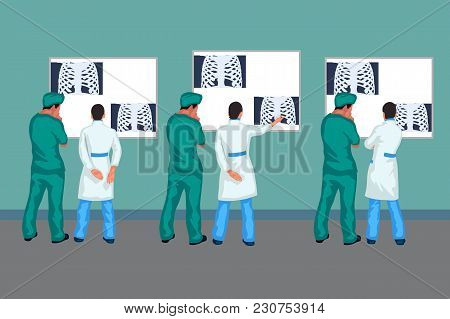 Illustration Of Doctors Looking At Xray Picture In Set