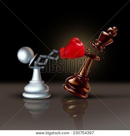 Knock Out Business Concept Or Knocking And Punching Symbol As A Secret Weapon With A Chess Pawn Beat