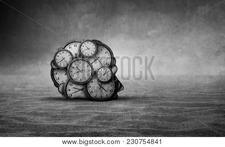 Sands Of Time And Abstract Aging Idea As A Head Made Od Old Clocks Shaped As A Human Head In A Barre