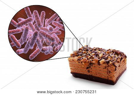 Food Borne Infections, Medical Concept, 3d Illustration Showing Cake As A Common Source Of Food Infe
