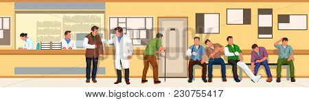 Illustration Of Wide Situations In Hospital With Patients And Doctors