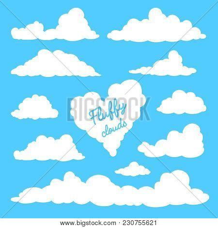 Set Of Clouds Isolated On Blue Background. Silhouettes Of Clouds. Fluffy Clouds In The Cartoon Style