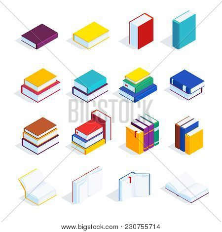 Set Of Isometric Books Isolated On White Background. 3d Books With Bookmarks, Open Books And Closed,
