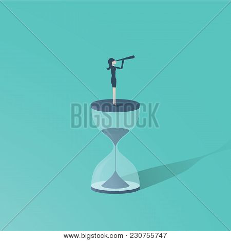 Time Is Up Movement With Woman Standing On Top Of Sand Clock Or Hourglass With Telescope. Symbol Of