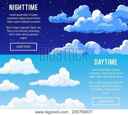 Set Of Horizontal Banners With A Cloudy Sky. Templates Design Banners With Clouds. Day And Night Tim