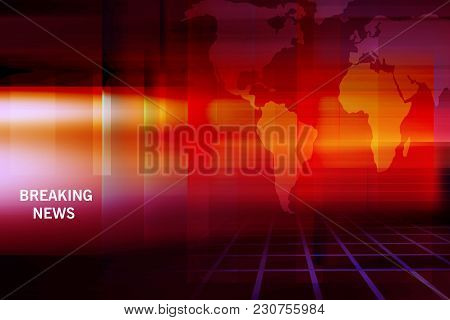Graphical Breaking News Background With World Map And Grid Ground. 3d Illustration