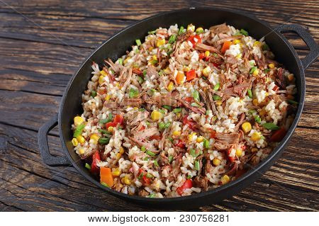 Close-up Of Shredded Juicy Beef And Rice