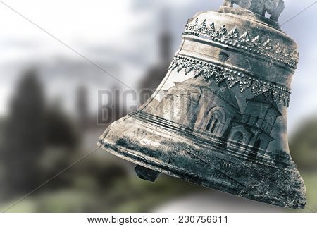 Double Exposure Effect: Church Bell And A Picture Of A Temple On Blurred Landscape Background.