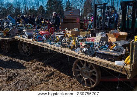 Farm Wagons At Mud Sale