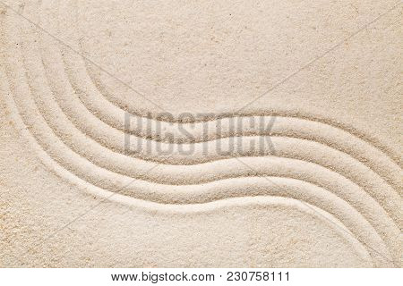 Zen Sand Garden With Raked Curved Lines. Simplicity, Concentration Or Calmness Abstract Concept. Top