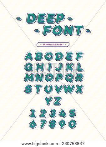 Vector Deep Font Modern Typography. 3d Alphabet Slanted Sans Serif Style For T Shirt, Printing On Fa
