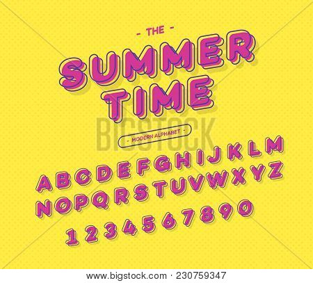 Vector Colorful Font Modern Typography. 3d Alphabet Slanted Sans Serif Style For Party Poster, Promo