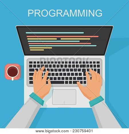 Vector Programming, Coding Web Development Concept. Programmer Top View With Screen Code