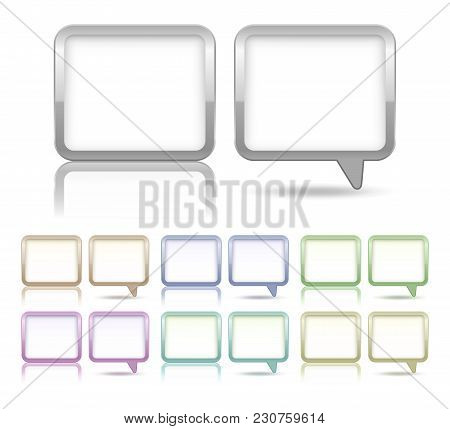 Speech Bubbles And Dialog Boxes Set, Different Colors And Shapes. Vector Illustration