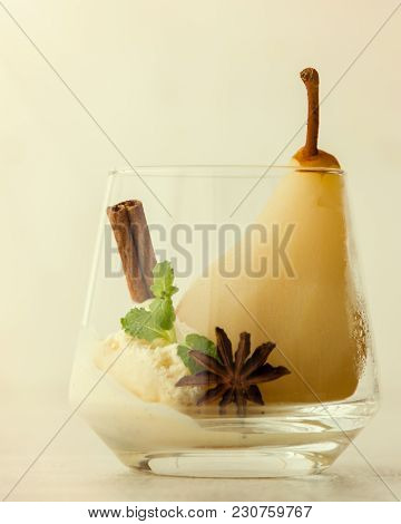 Delicious Poached Pear In Glass